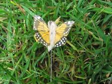 Tiny Light Orange Feather Butterflies - Speckled Wings - 3.0cm - Set of 2