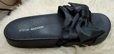 Women's Steve Madden Slides Black Size 7 Silky Bow Arch Support Comfort Cushion