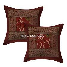 Indian Brocade Silk Cushion Cover Handmade Bedding Sofa Pillow Case Cover Throw