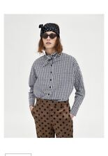 Zara Ladies Size Small S Checked Shirt With Bow Detail Black White Plaid Current