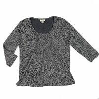 Ann Taylor LOFT Women's Top 3/4 Sleeve Gray Black Stretch Shirt Pleated Size L