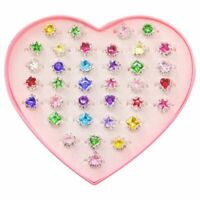 1X(36pcs Colorful Rhinestone Gem Rings in Box, Adjustable Little Girl Jewel R V1