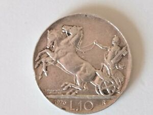 1926 Italy Silver 10 Lire Horses & Chariot