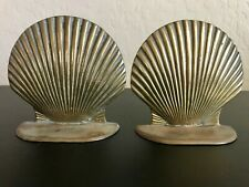 Vintage Art Deco Solid Brass Clam Shell Bookends