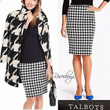 NEW $119 Talbots Black/White Houndstooth Wool/Poly Skirt Blk Pleather Wst Trim 8
