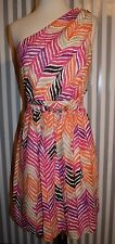 Trina Turk Draped One Shoulder Silk Chiffon Dress Zig Zag Print Orange Pink 8 M
