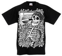 Skeleton Boombox T-Shirt Kids Age 5 -13 year old boys skull rock Gift z1