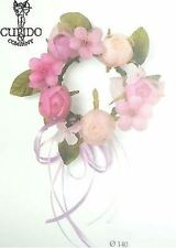 Coroncina fiori cipria rosa fuxia decorazione D 140 mm art 56841