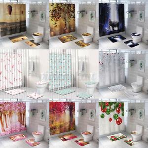 Printed Bath  Set Non-Slip Bathroom Rug Toilet Lid Cover Shower Curtain  c