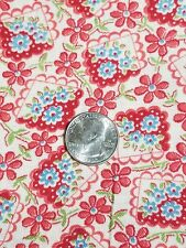 New listing Vintage cloth feed sack Pink Blue White floral print - quilt or craft fabric