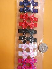 red pink white black small girl hair clip pin bow Barrettes  Blue dog