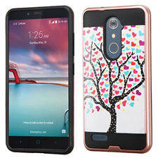 For ZTE ZMAX PRO Z981 - Hybrid Brushed Armor Case Cover Rose Gold Pink Love Tree