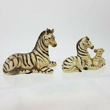 Uctci Vintage Figurine Set 2 Zebra Safari Animal Mom w/ Baby Japan