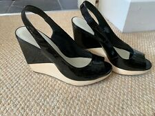 Nine West Ladies Black Patent Leather/Wood Look Wedge Shoes Size 6