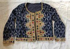 CALYPSO ST. BARTH Beaded Navy Blue Open Front jacket bolero Sz M $650 Sequined