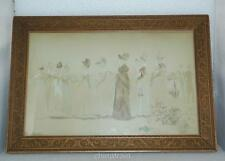 "Antique Circa 1900 Victorian Ladies Print Hand Colored 15x10"" Framed Signed"
