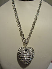 Clear Crystal Stud Silver Ton Big Heart Pendant Silver Tone Link Necklace