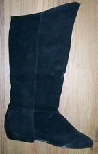 PREMIER - WOMENS BLACK LEATHER SUEDE KNEE BOOTS - FLAT HEEL - SIZE 8.5M