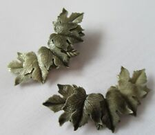 Vintage Large ! Cascading Highly Detaild Falling leaves Celluloid Grey Earrings