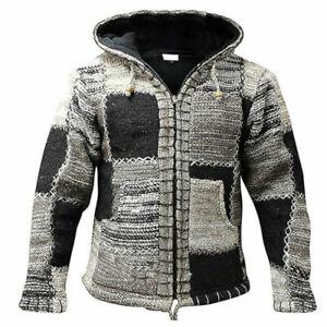 New Men`s Winter Warm Zip Cardigan Casual Fleece Fur Lined Sweater Coat Jacket