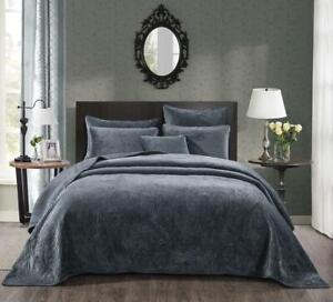 Tache Crushed Velvet Dark Deep Blue Grey Soft Plush Waves Bedspread Coverlet Set