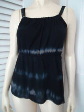 Sweet Pea Top S Black Nylon Ombre Tie Dye Sleeveless Drawstring Neck New $68