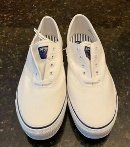 Men's Sperry Top-Sider Marine White Canvas Shoe Size 10 M US New With Tags! L@@K