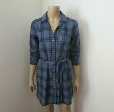 NWT Abercrombie & Fitch Flannel Plaid Shirt Dress Size Small Navy Blue