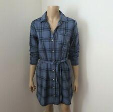 NWT Abercrombie & Fitch Flannel Plaid Shirt Dress Size XS Navy Blue