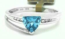 NATURAL 1.03 Cts BLUE TOPAZ & DIAMONDS RING 10k White Gold ** FREE APPRAISAL **