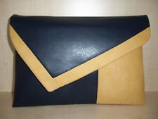 OVER SIZED  MUSTARD & NAVY BLUE faux leather & suede lined clutch bag. UK
