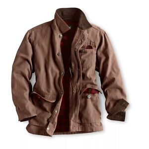 ORVIS Canvas Lined Barn Coat Corduroy Collar Field Jacket Mens Brown XL NWT NEW