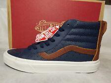 New Vans Sk8 Hi Reissue Zip Leather Perf Dress Blue Brown White Shoe Men Size 7