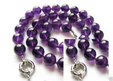 10mm Natural Purple Amethyst Round Gemstone Hand Knoted Necklace18'' AAA