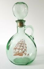 Old Fitzgerald Kentucky Bourbon Ironsides Green Blown Glass Decanter Bottle Ship