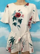 MONSOON 8 BNWT Gloria Pink Blush Floral Short Sleeve Belted Blouse Tunic Top
