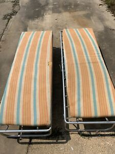 Pair Vintage Deluxe Fold N Beds with Mattress A Wallace Product In Original Box