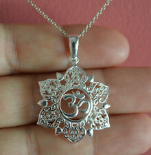 925 Sterling Silver Big Lotus Flower Ohm Charm Necklace,Yoga Om Namaste Necklace
