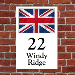Custom British union flag house sign 9311 with your choice of text Patriotic