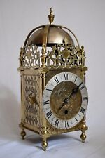 """ANTIQUE LARGE 14.5"""" TALL SINGLE FUSEE SINGLE HANDED BRASS LANTERN CLOCK"""