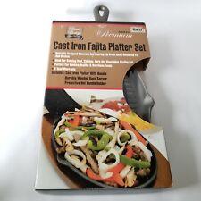 Cast Iron Fajita Platter Set Classic Prestige Mr Bar-B-Q Premium Wood Base New