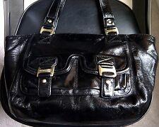 Authentic MICHAEL KORS Black Patent Leather Large Tote Bag Purse - RARE