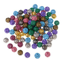 100 Iron Filigree Metal Beads for Craft Loose Spacer Beads Multi-Color 8mm
