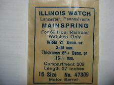 ILLINOIS MAINSPRING #47309  16s    ALL BUNN SPECIAL 60HR MODELS