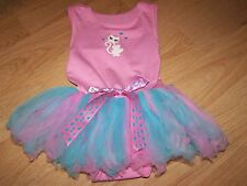 Size 1-2X 2-3 Years Pink Kitty Cat Leotard with Blue Pink Tulle Tutu Skirt EUC