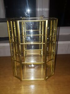 Vintage Glass & brass curio Display Cabinet for Collectables Miniatures