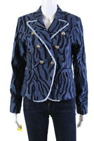 Alberto Makali Womens Fringe Collared Double Breasted Jean Jacket Blue Size 4