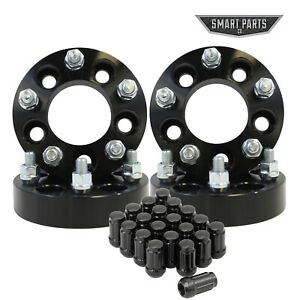 """4 QTY Wheel Spacers Adapters Black 1.25"""" 5x4.25 (5x108) to 5x4.5 (5x114.3) with"""