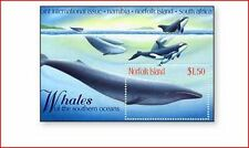 NOR9808 Whales block and stamp for the block  MNH NORFOLK ISLAND 1998