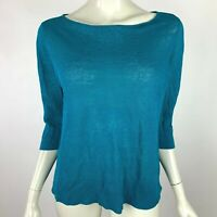 Eileen Fisher Organic Linen Top 3/4 Sleeve Boat Neck Knit Pullover Blue Women M